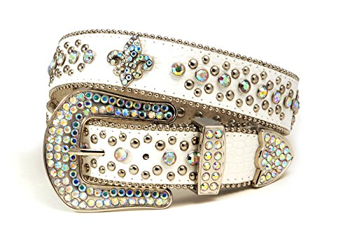 De Lis Crystal Fleur Small (Western Crystal Fleur De Lis and Stud Cowgirl Belt in Croco White)