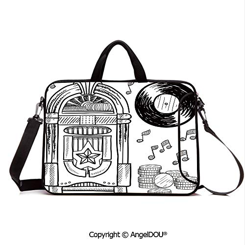 (AngelDOU Neoprene Printed Fashion Laptop Bag Doodle Style Retro Music Box Notes Coins Long Play Vintage Sketchy Artwork Notebook Tablet Sleeve Cases Compatible with Lenovo Asus Acer HP Black and Wh)