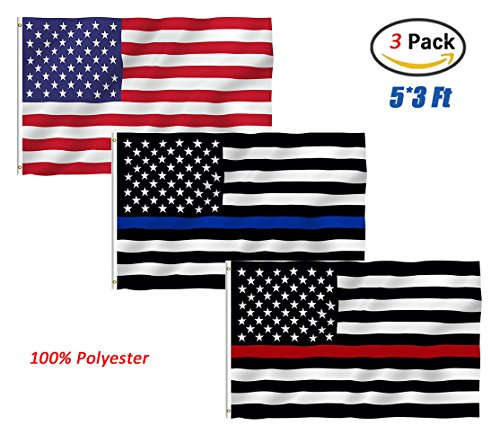 USA Flag Thin Blue Line Thin Red Line Flag, TOWEE 3 Pack 3x5 Ft 100% Polyester US Stars and Stripes America Thin Blue Line Thin Red Line Flags Bright Color (Do Firefighters Have Badges)