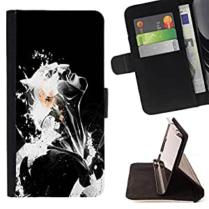 For HTC One Mini 2/ M8 MINI Black & White Bat Style PU Leather Case Wallet Flip Stand Flap Closure Cover