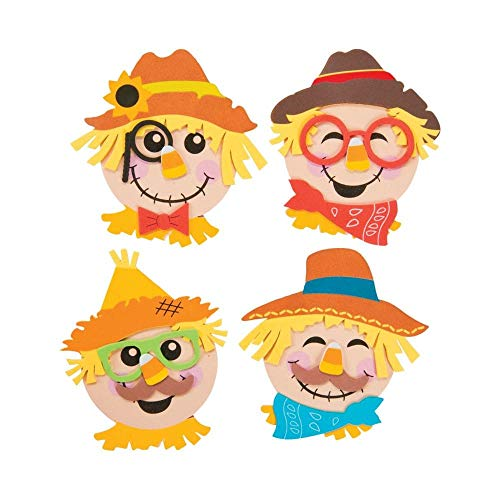 Fun Express Scarecrow Head Foam Magnet Craft Kit for Kids-Halloween Fall Crafts-Makes 12