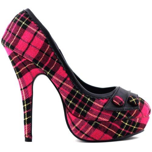 Show Story Classic Hot Pink Checkered Buttons High Heel Platform Stiletto Pumps,LF30441HP41,10US,Hot Pink