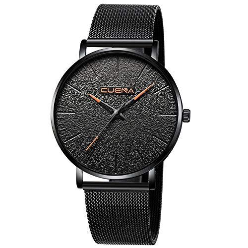 Mens Business Casual Fashion Waterproof Watch Deep Black Ultra Thin Wrist Watches Classic Window for Men Dress