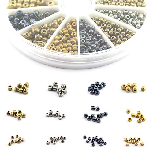 Lind Kitchen 2800pcs Mini Glass Beads DIY Handmade Jewellery Beading Fittings Loose Seed Spacer Beads 2mm 3mm 4mm Metal Color (Silver, Gold, Black, Red Copper)