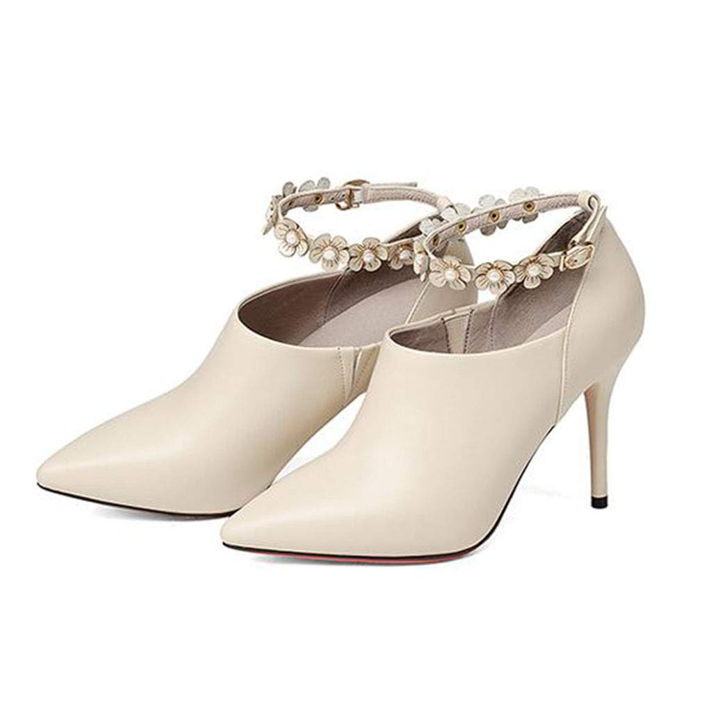 Gfphfm Damenschuhe Spring Fall Word Heels One Word Fall Buckle Leather Deep Mouth Single schuhe Ladies Fashion Stiletto Schuhe B 38 ef0902