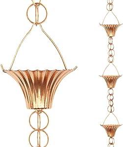 Tfro & Cile Cup Rain Chain Copper Gutter Downspout Substitution Decorative Garden Rainwater Diverter Home Decor, 8 1/2-Feet Length