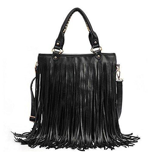 ajustable correa bolso del bolso Moda Negro BOZEVON Mensajero flecos mujer Con Retro con muchacha bolsos del y PU Bolsos de estilo para Negro ocio xHRHw1
