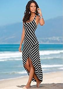 Amazon.com : Women Black White Striped Boho Maxi Dresses