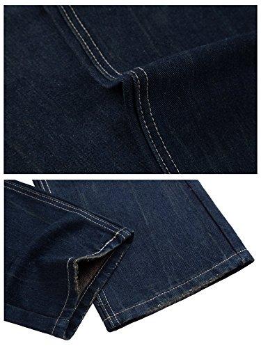 FEESON Men's Straight Leg Slimming Fit Distressed Loose Denim Jeans Dark Blue W30 by FEESON (Image #6)