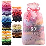 50 Pcs Premium Velvet Hair Scrunchies Hair Bands Scrunchy Hair Ties Ropes Ponytail holder for Women or Girls Hair Accessories with Gift bag (50 PcsVelvet Hair Scrunchies): more info