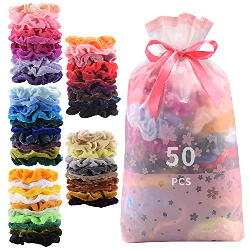 50 Pcs Premium Velvet Hair Scrunchies Hair Bands Scrunchy Hair Ties Ropes Ponytail holder for Women or Girls Hair Accessories with Gift bag (50 PcsVelvet Hair ()