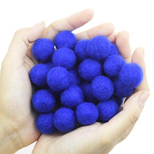 Zasy 20mm Foam Filled Needle Wool Felt Balls DIY Garland Home Decor Fashion Jewelry Beads (Royal Blue)