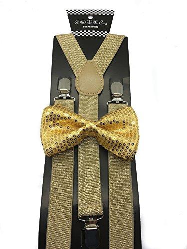 All Gold Mens & Women Wedding Accessories Sequin Adjustable Bow Tie & Glitter Suspenders