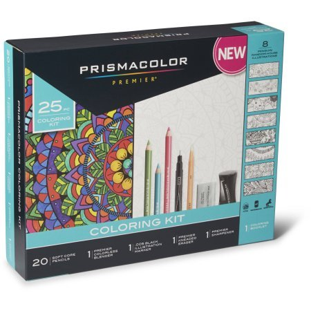 Prismacolor Premier Soft Core Pencils Adult Coloring Book Kit With Blender, Illustration Marker, Eraser, Sharpener And Coloring Booklet, 25 Pieces