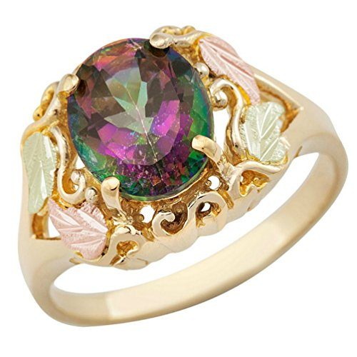 Scrollwork Mystic Fire Topaz Ring, 10k Yellow Gold, 12k Green and Rose Gold Black Hills Gold Motif, Size 7 by Black Hills Gold Jewelry