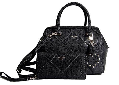 guess-womens-frame-satchel-bag-handbag-wallet-set-black