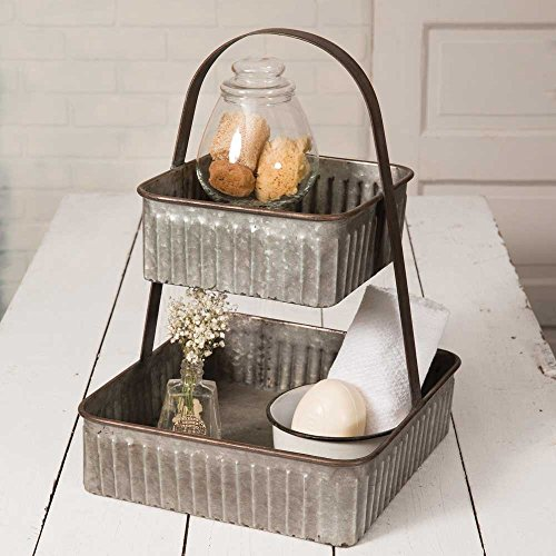 Colonial Tin Works Rustic Industrial Farmhouse Chic Two Tiered Corrugated Square Tray,grey by Colonial Tin Works