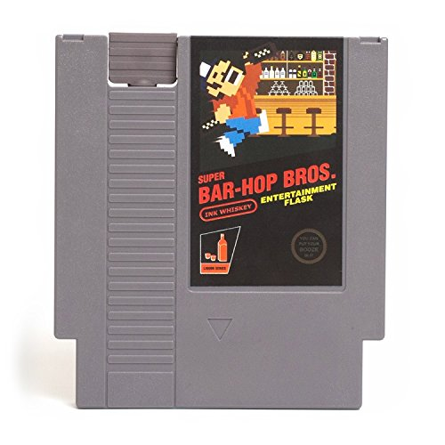Concealable NES Entertainment Flask – Looks Like a Retro Nintendo Video Game Cartridge – But It's a Flask with a Hilarious Label (Super Bar-Hop Bros. - Super Mario (Party City Mario Bros)