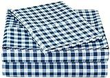Amazon Basics Juego de sábanas de Microfibra, Twin XL, Azul (Gingham Plaid)