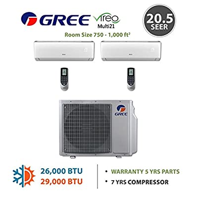 GREE Multi21 Dual-Zone VIREO Ductless Mini-Split System