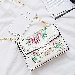 Wultia - Bags for WAMEN Women Messenger Bags Embroidery Rose Crossbody Shoulder Bags Chain Body Bags Bolsa Feminina White