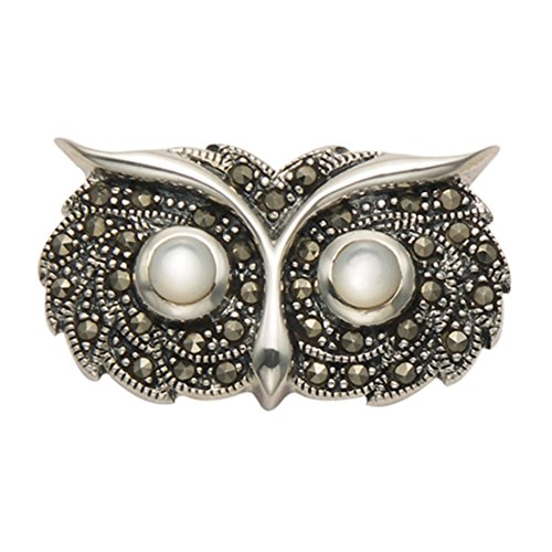 Sterling Silver Marcasite Owl Head (Marcasite Owl Pin)