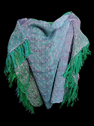 Handwoven ocean lavender poncho. Hand dyed cotton. One of a kind.