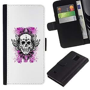 All Phone Most Case / Oferta Especial Cáscara Funda de cuero Monedero Cubierta de proteccion Caso / Wallet Case for Samsung Galaxy Note 4 IV // White Pink Floral Death Skull Wings