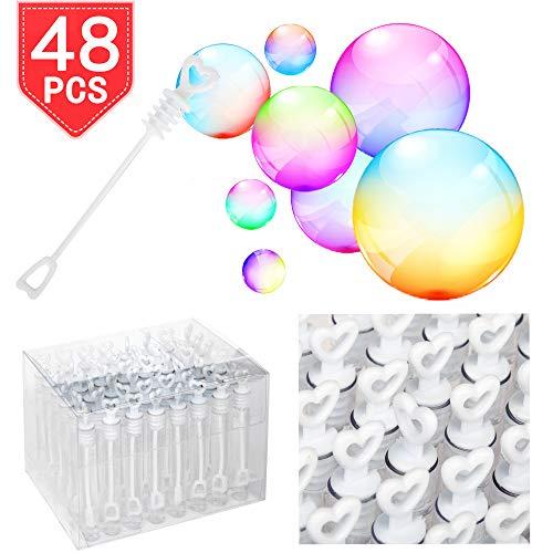 PROLOSO Mini Bubble Wands White Heart Shape Bubble Sticks Transparent Tubes Pack of 48