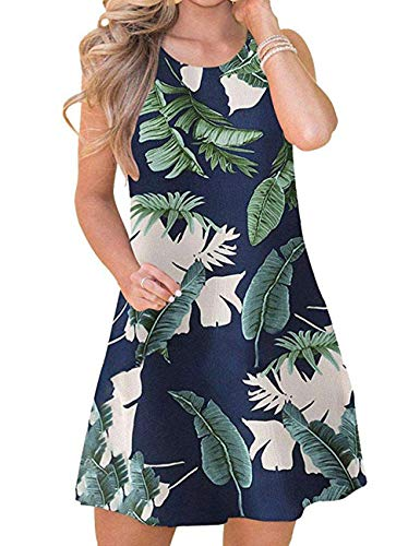 Bibowa Beach Dresses for Women Summer Plus Size Swing Knee Shirt Dress Tea Tropical XL