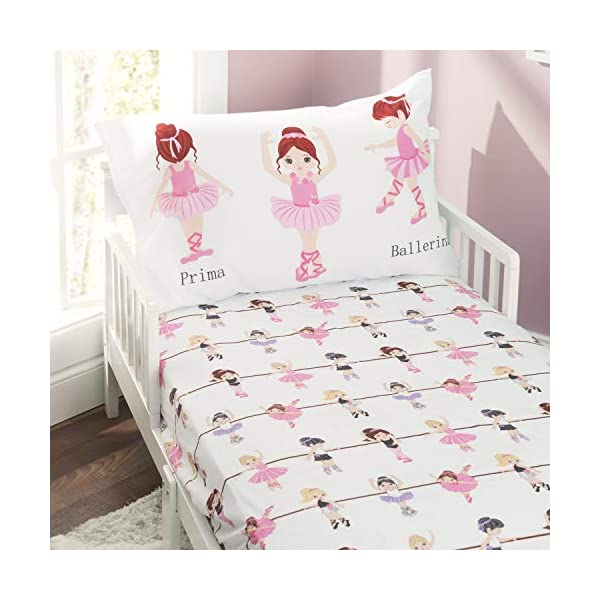 EVERYDAY KIDS Toddler Fitted Sheet and Pillowcase Set -Born to Dance Ballerina- Soft Microfiber, Breathable and Hypoallergenic Toddler Sheet Set 1