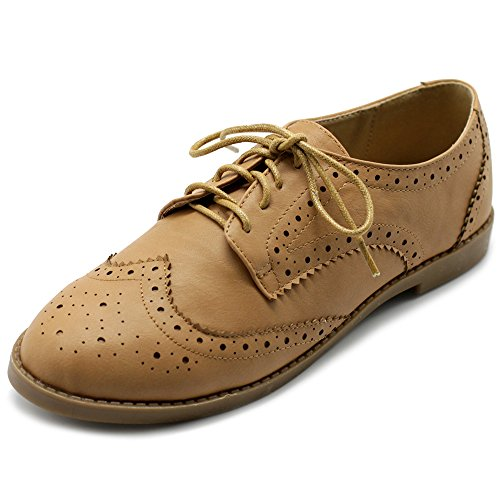 Ollio Women's Flat Shoes Wingtip Lace Up Oxford M2921 (9 B(M) US, Sand)