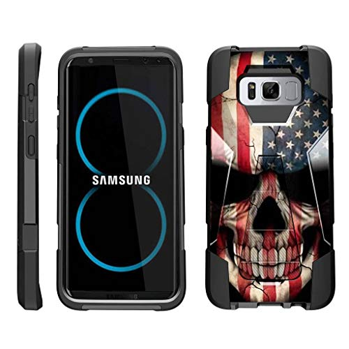 (TurtleArmor | Compatible Samsung Galaxy S8 Case | G950 [Dynamic Shell] Hybrid Dual Layer Hard Shell Kickstand Silicone Case - US Flag Skull)