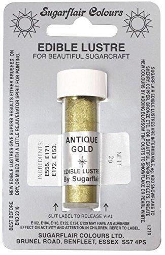 Sugarflair Sugarcraft Lustre Dusting Powder ANTIQUE GOLD-2g