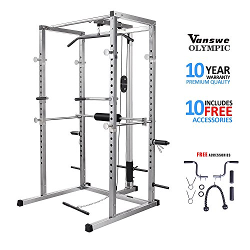 Power Rack with Lat Pull Attachment, Dip Handle and Tricep Rope Power Cage Home Gym Equipment Exercise Stand Olympic Squat Cage (Pull Rack)