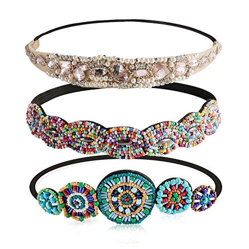 Women Headbands, Teenitor Rhinestone Beaded Elastic Headband for Women Girl Hair Accessories, Handmade vintage headbands Fits for Most, 5pcs
