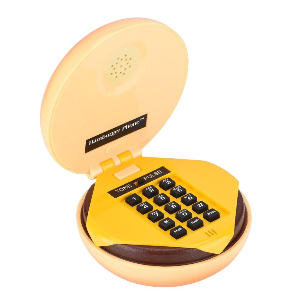Wired Landline Phone, Fosa Novelty Emulational Lovely Cute Hamburger Telephone Creative Desktop Phone Corded Phone for Home Office Deco with Flash, Re-dial and Voice-Frequency Dialing Function, Funny fo sa