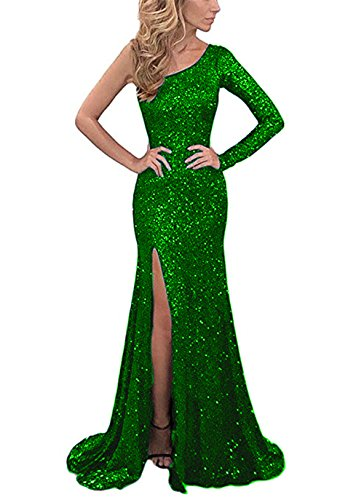 (YSMei Women's One Sleeve Sequins Evening Celebrity Long Side Split Formal Party Gowns Green 8)