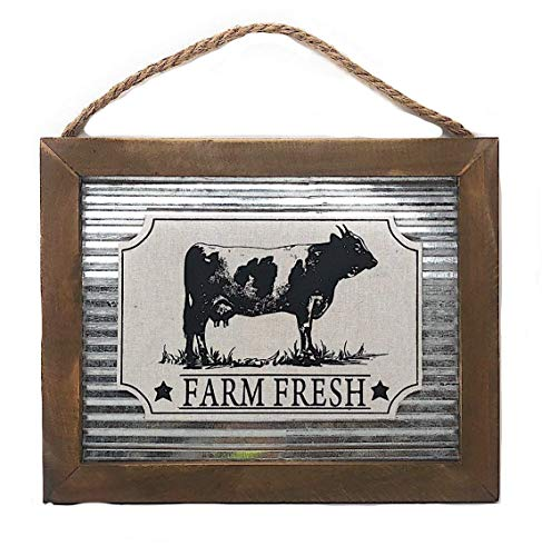 Farmhouse Country Style Kitchen Decor Metal Wood Sign Plaque 12