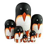 Perfect Mother's Day Gift Set of 7 Cute Orange Black White South Pole Penguin Russian Matryoshka Wooden Nesting Dolls Home Decoration Christmas Birthday Kids Boys Girls Gifts