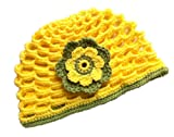 POM KIDS Crochet Beanie Contrast OP Hat with Flower : Yellow