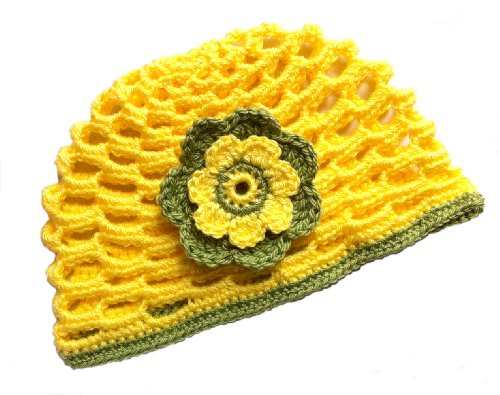POM KIDS Crochet Beanie Contrast OP Hat with Flower : Yellow by MOP