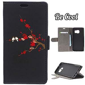 BeCool® - Funda carcasa tipo [ Libro ] Samsung Galaxy S7 Edge [ Función Soporte ] Pájaros en cerezo en flor