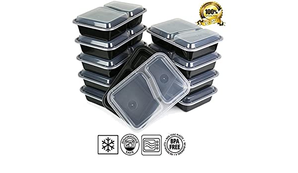KAMIERFA Premium apilable 2 compartimentos comida Prep recipientes ...