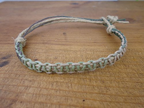 Thick Necklace Hemp (BEACH HEMP JEWELRY Camouflage Choker Necklace Thick Men's Women's Tie On Adjustable)