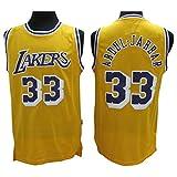 Abdul-Jabbar Jerseys Los Angeles 33 Jerseys Men's Basketball Jersey Yellow (S)