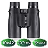 BNISE® - 10x42 High Powered Magnification Binoculars - Bright and Clear Range of View - for Travel, Bird Watching, Astronomy, Sports and Wildlife -Comes with Case, Lens Caps, Strap and Warranty -Black