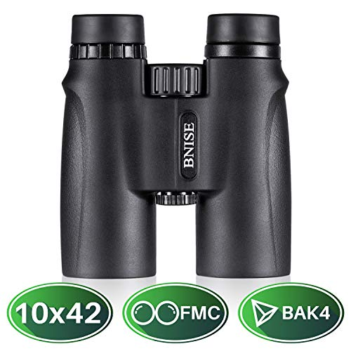 BNISE 10x42 High Powered Magnification Binoculars for Adults Compact, Bright and Clear View for Hunting, Bird Watching, Sports and Wildlife. Comes with Case, Lens Caps, Strap and Warranty-Black