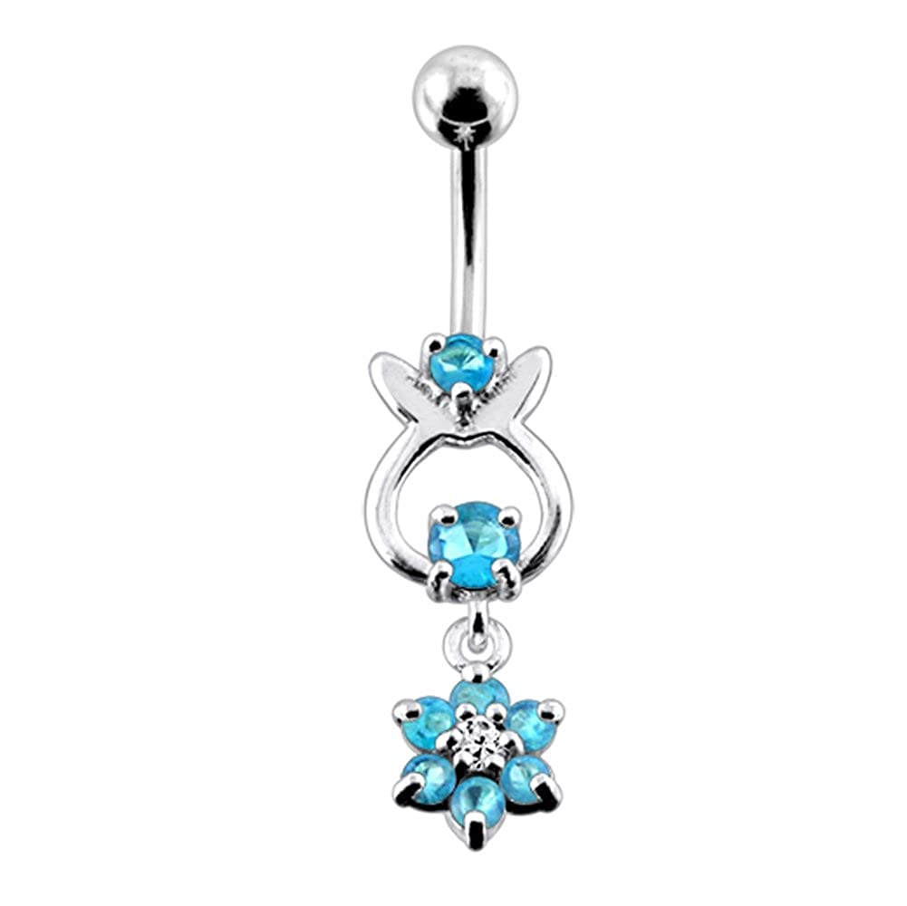 CZ Crystal Gemstone Stylish Rabbit Shape with Flower Dangling 925 Sterling Silver Belly Ring Body Jewelry
