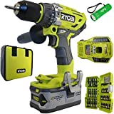 Ryobi Brushless Hammer Drill Kit Bundle, P1813 18-Volt ONE+ with 34 Piece Impact Driving Kit and Buho Flashlight For Sale
